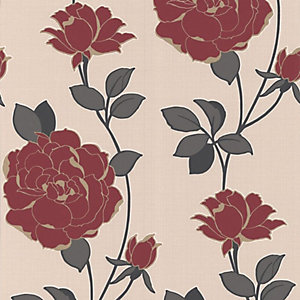 Superfresco Colour Rosey Decorative Wallpaper Red
