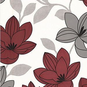 Superfresco Colour Superflora Decorative Wallpaper Red