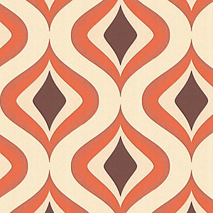 Superfresco Easy Trippy Decorative Wallpaper Choc/Orange