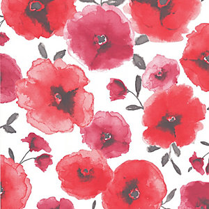 Superfresco Easy Poppies Decorative Wallpaper Red