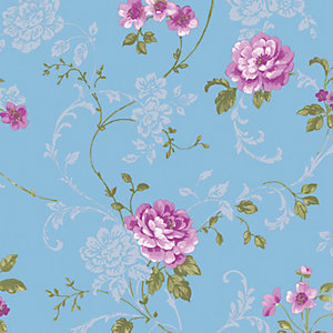 Graham & Brown Northern Rose Decorative Wallpaper Blue / Pink