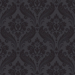 Kelly Hoppen Vintage Flock Decorative Wallpaper Black