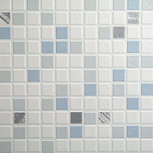 Contour Checker Decorative Wallpaper Blue