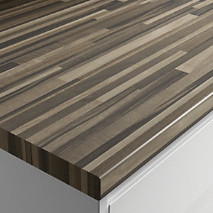 Wickes Square Edge Zebra Block Worktop 50x600mmx3m