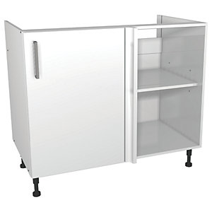 Wickes Houston Corner Base Unit Gloss White 1000mm