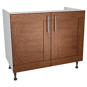 Wickes Rockford Base Unit Walnut 1000mm