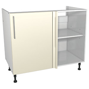 Wickes Costa Rica Corner Base Unit Gloss Cream 1000mm