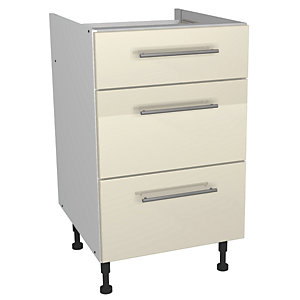 Wickes Costa Rica Drawer Unit Gloss Cream 500mm
