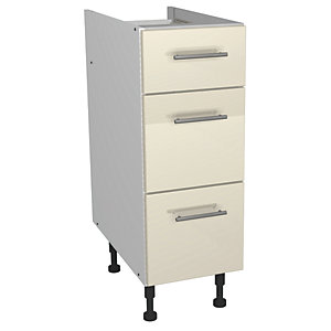 Wickes Costa Rica Soft Close Drawer Unit Gloss Cream 300mm