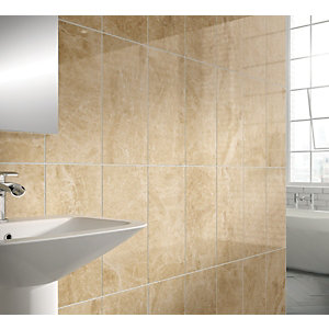 Wickes Emperador Wall Tile Cream 250x500mm
