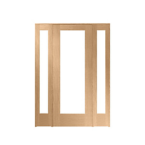Wickes Oxford Internal Room Divider Oak Veneer 762mm Door with 2 Demi Panels 2017 x 1468mm