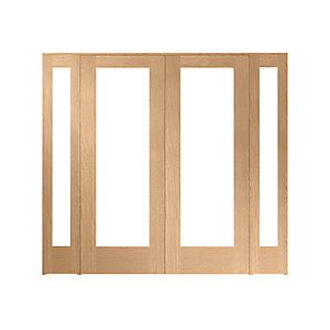 Wickes Oxford Internal Room Divider Oak Veneer 2 x 762mm Doors with 2 Demi Panels 2017 x 2232mm