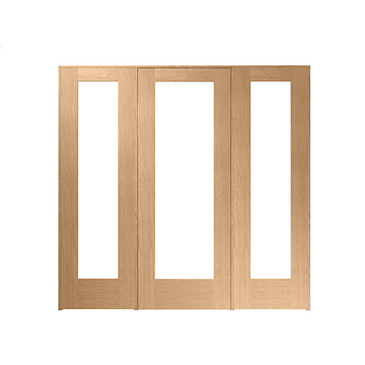 Wickes oxford internal room divider oak veneer 762mm door for Oak french doors