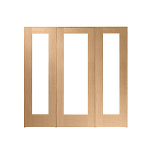 Wickes Oxford Internal Room Divider Oak Veneer 762mm Door with 2 Side Panels 2017 x 2078mm