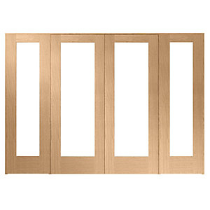 Wickes Oxford Internal Room Divider Oak Veneer 2 x 762mm Doors with 2 Side Panels 2017 x 2840mm