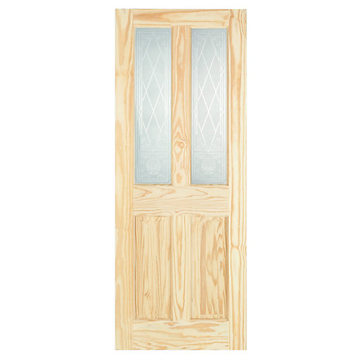 Wickes Skipton Internal Softwood Door Clear Pine Glazed 4