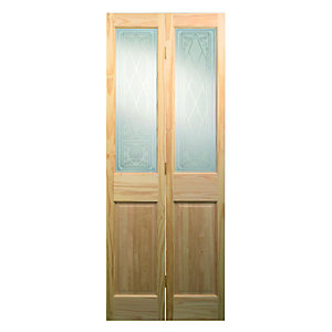 Wickes Skipton Internal Bi-fold Door Clear Pine Glazed 4 Panel 1981 x 762mm