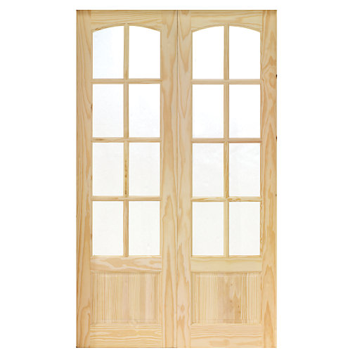 Wickes newland internal french doors pine glazed 8 lite for Main door with french window