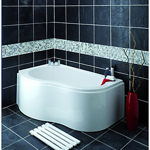 Wickes Wave Corner Bath Left Hand White 1500mm