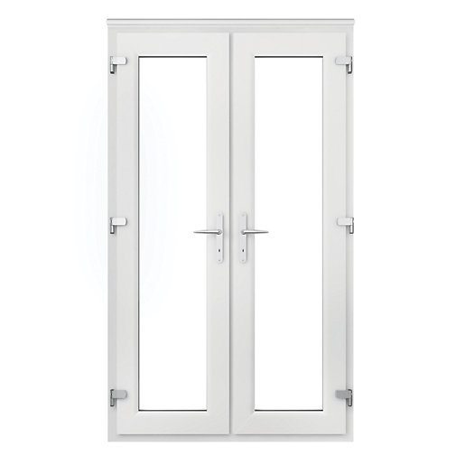 Wickes Upvc French Door 4ft With Chrome Handles Wickes Co Uk