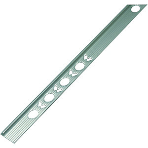Wickes Tile Trim Brushed Silver Effect Anodised Aluminium 6mmx1.83m