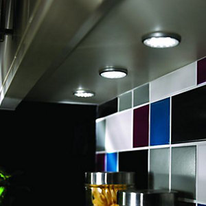 Wickes Flat LED Kitchen Spotlight Set Satin Stainless Steel 3 Pack