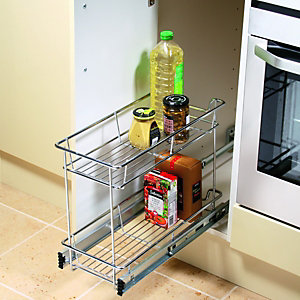 Wickes 2 Tier Wire Cupboard Storage Chrome 300mm