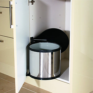 Wickes Swing Out Pop Up Waste Bin Stainless Steel