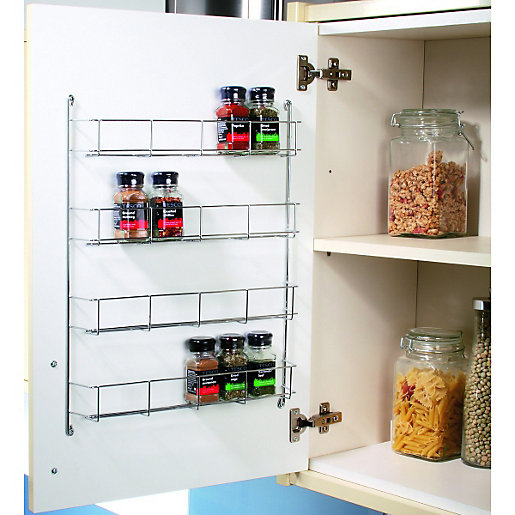 Wickes chrome 4 tier spice rack 500mm for Kitchen cabinets 500mm