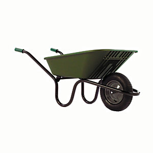 Haemmerlin Vibrante Go Polyproylene Pneumatic Wheelbarrow Green 90L