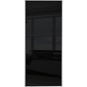 Wickes Sliding Wardrobe Door Silver Framed Single Panel Black Glass 2220 x 610mm