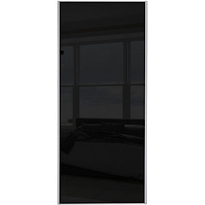 Wickes Sliding Wardrobe Door Silver Framed Single Panel Black Glass 2220 x 762mm
