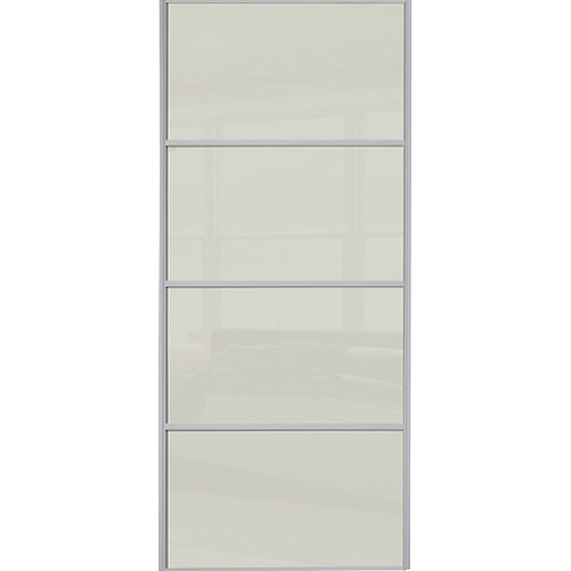 4 Panel Sliding Glass Door: Wickes Sliding Wardrobe Door Silver Framed Four Panel Soft