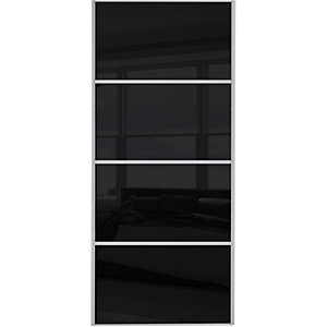 Wickes Sliding Wardrobe Door Silver Framed Four Panel Black Glass 2220 x 610mm