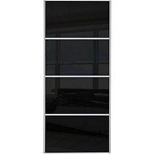 Wickes Sliding Wardrobe Door Silver Framed Four Panel Black Glass 2220 x 762mm