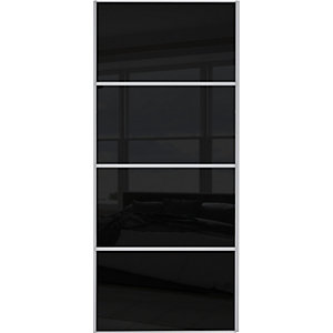 Wickes Sliding Wardrobe Door Silver Framed Four Panel Black Glass 2220 x 914mm
