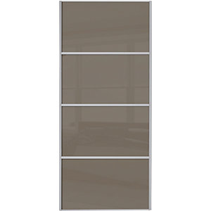 Wickes Sliding Wardrobe Door Silver Framed Four Panel Cappuccino Glass 2220 x 610mm