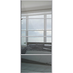 Wickes Sliding Wardrobe Door Silver Framed Four Panel Mirror 2220 x 610mm