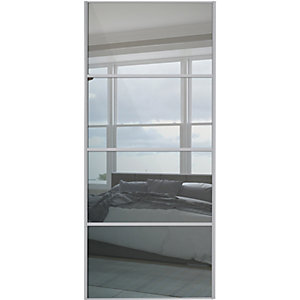 Wickes Sliding Wardrobe Door Silver Framed Four Panel Mirror 2220 x 762mm