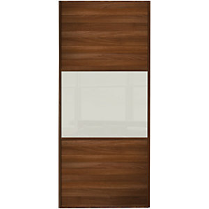 Wickes Sliding Wardrobe Wideline Door Walnut Panel & Soft White Glass 2220 x 762mm