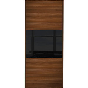 Wickes Sliding Wardrobe Door Wideline Walnut Panel & Black Glass 2220 x 610mm