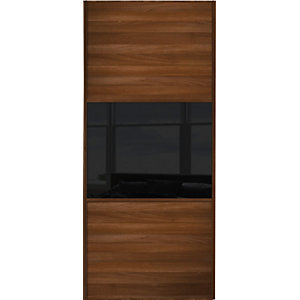 Wickes Sliding Wardrobe Door Wideline Walnut Panel & Black Glass 2220 x 762mm