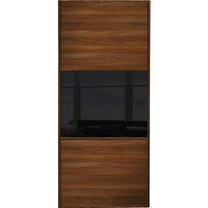 Wickes Sliding Wardrobe Door Wideline Walnut Panel & Black Glass 2220 x 914mm