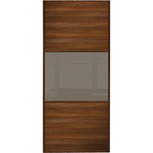 Wickes Sliding Wardrobe Door Wideline Walnut Panel & Cappuccino Glass 2220 x 610mm