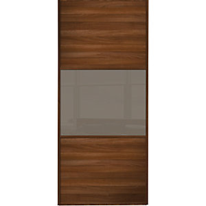 Wickes Sliding Wardrobe Door Wideline Walnut Panel & Cappuccino Glass 2220 x 762mm