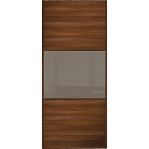 Wickes Sliding Wardrobe Door Wideline Walnut Panel & Cappuccino Glass 2220 x 914mm