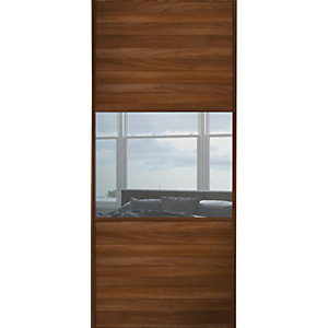Wickes Sliding Wardrobe Door Wideline Walnut Panel & Mirror 2220 x 610mm