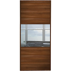 Wickes Sliding Wardrobe Door Wideline Walnut Panel & Mirror 2220 x 762mm