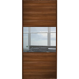 Wickes Sliding Wardrobe Door Wideline Walnut Panel & Mirror 2220 x 914mm