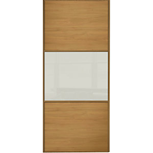 Wickes Sliding Wardrobe Door Wideline Oak Panel & Soft White Glass 2220 x 762mm